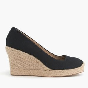 J. Crew Black Canvas Seville Espadrille Wedges